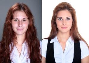 Hübsche Frau im Vergleich mit und ohne Make Up