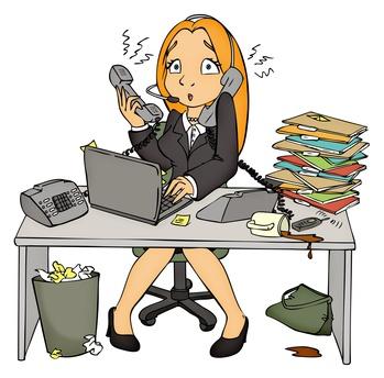 Stress, Arbeit, Bro, Angestellte, Sekretrin, berfordert